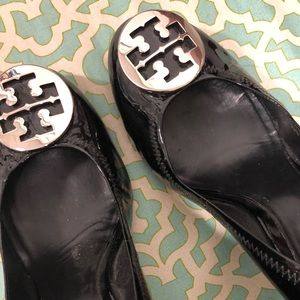 """Tory Burch patent leather 4"""" wedge shoes"""